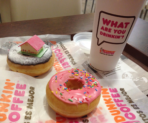 coffee, doughnut, and pink image