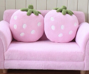 pink, strawberry, and sofa image