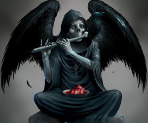 death, heart, and angel image