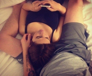 brunette, cute couple, and love image