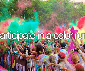 color run, bucket list, and run image