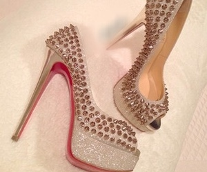 louboutins, christian louboutins, and glitter high heels image