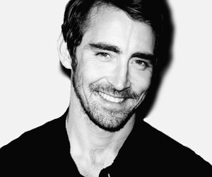 black and white, handsome, and smiling image