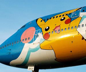 pikachu, pokemon, and airplane image