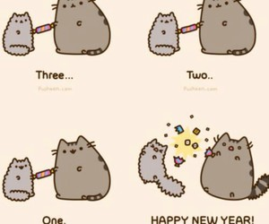 happy new year, 2015, and pusheen image