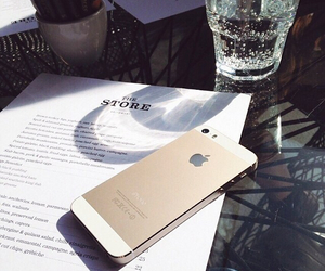 iphone, gold, and water image