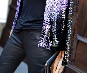 fashion, leather pants, and sparkly jacket image