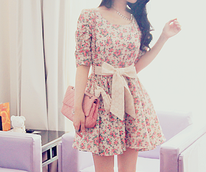 dress, pink, and flowers image