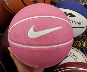pink, nike, and Basketball image
