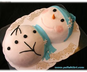 cake, snowman, and winter image