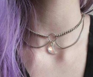 necklace, hair, and purple image