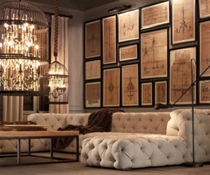 home, decor, and chandelier image