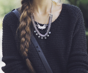 braid, hair, and necklace image