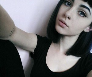 girl, black, and piercing image