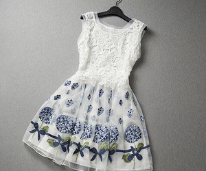 dress, white, and flower image