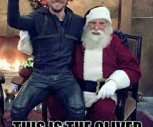 arrow, santa claus, and oliver queen image