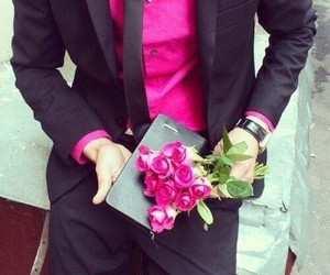 flower, man, and pink image
