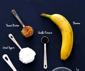 smoothie, banana, and peanut butter image
