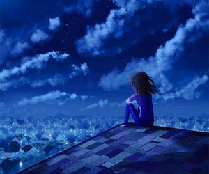 night, alone, and blue image