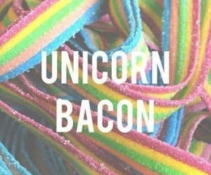 unicorn, bacon, and rainbow image