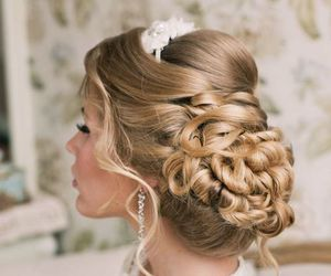 bridal, hairstyle, and wedding image