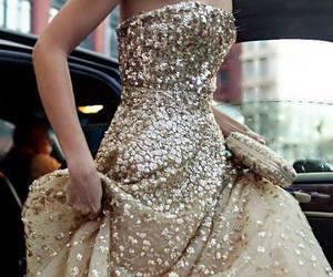 dress, gold, and glitter image