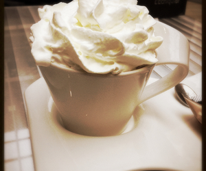 chantilly, cream, and hot chocolate image