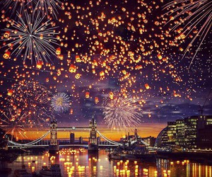 london, fireworks, and light image