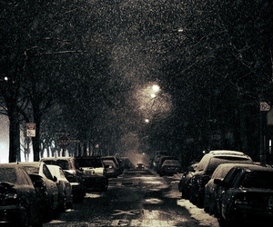 car, snow, and street image