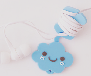 cute, clouds, and earphones image