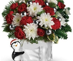 art, penguin, and floral arrangements image