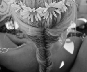 blackandwhite, flower crown, and fishtail braid image