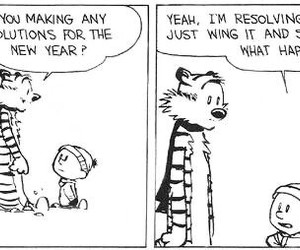 black and white, comic, and new year image