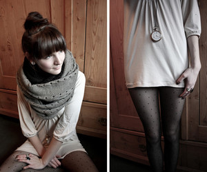 clock, girl, and scarf image