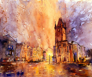 prague, watercolor painting, and watercolour image