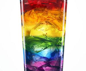 rainbow, drink, and ice image