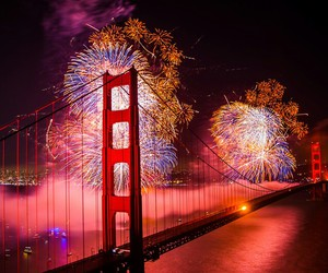 firework and golden gate bridge image