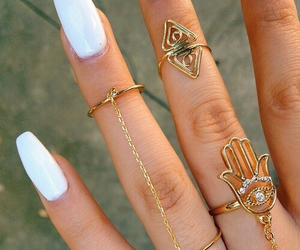 gold, hand, and nails image