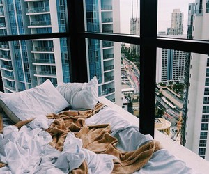 bed, city, and view image