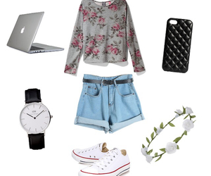 converse, fashion, and flower image
