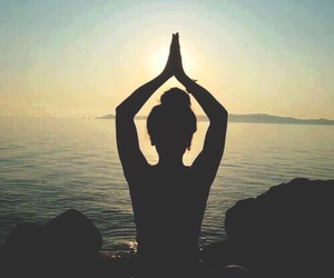 yoga, peace, and beach image