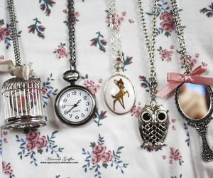 necklace, owl, and mirror image