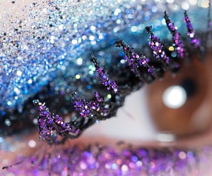 eyes, makeup, and paillette image