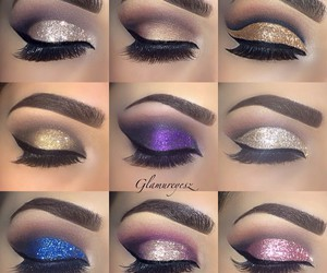 glitter, lashes, and make up image