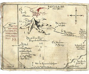 map, tolkien, and smaug image