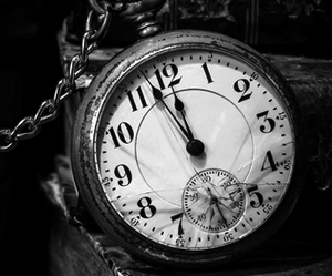 black and white, clock, and antique image