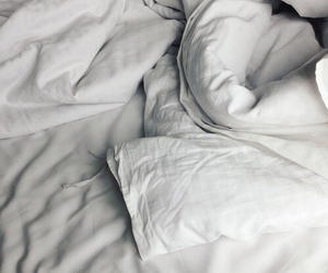 bed, blanket, and white image