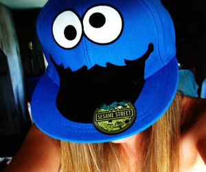 girl, cap, and cookie monster image