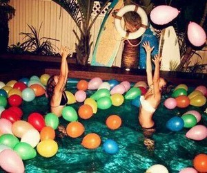 party, girl, and pool image