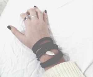 black, bracelet, and hand image